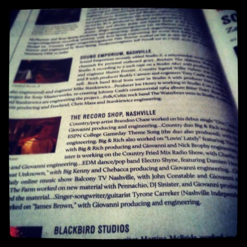 Blurb about The Record Shop in Mix Magazine.